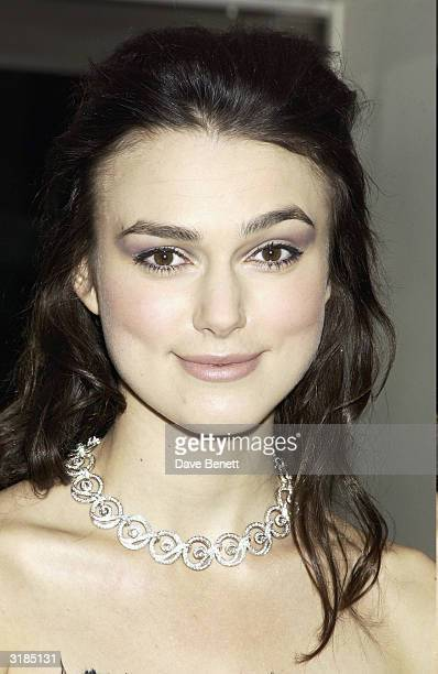 Keira Knightley attends the UK Premiere of 'Love Actually' at the Odeon Leicester Square on November 17 2003 in London