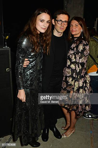 Keira Knightley Erdem Moralioglu and Natalie Massenet attend the Erdem x Selfridges LFW Afterpary at the Old Selfridges Hotel on February 22 2016 in...