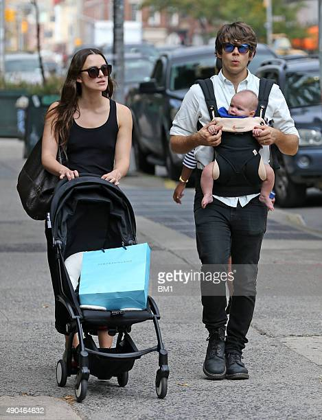 Keira Knightley husband James Righton and daughter Edie in Soho on September 28 2015 in New York City