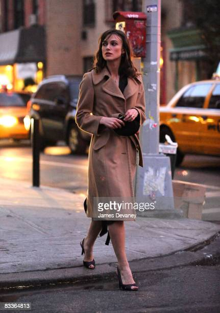 Keira Knightley is seen on location for 'Last Night' on the streets of Manhattan on October 20 2008 in New York City New York