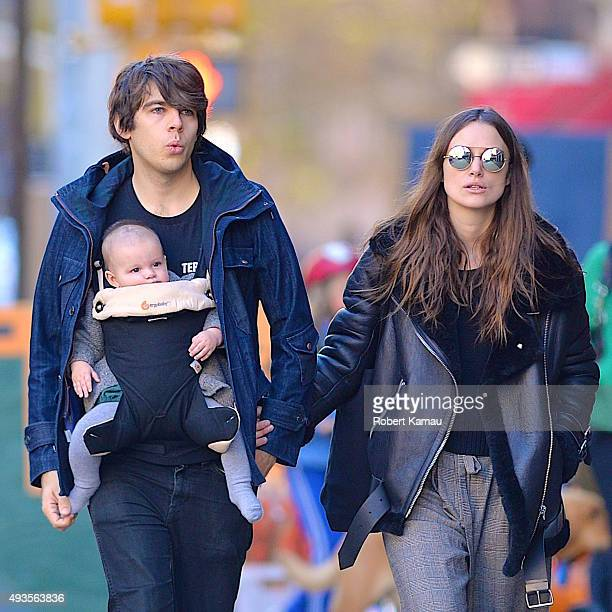 Keira Knightley James Righton and their baby Edie Righton seen out walking on October 19 2015 in New York City