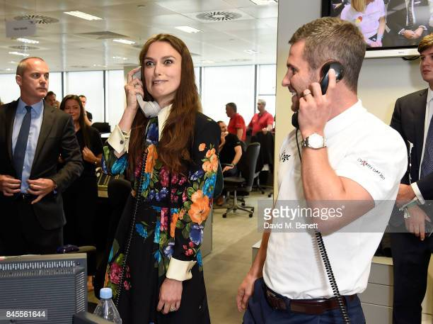 Keira Knightley representing SMA Trust makes a trade at the BGC Charity Day on September 11 2017 in Canary Wharf London United Kingdom