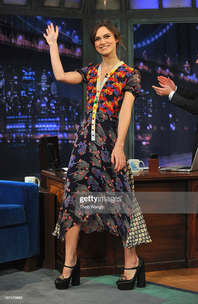 <a gi-track='captionPersonalityLinkClicked' href=/galleries/search?phrase=Keira+Knightley&family=editorial&specificpeople=202053 ng-click='$event.stopPropagation()'>Keira Knightley</a> visits 'Late Night With Jimmy Fallon' at Rockefeller Center on December 3, 2012 in New York City.