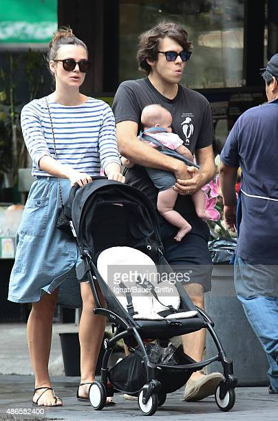 Keira Knightley with baby Edie Righton and husband James Righton are seen on September 04 2015 in New York City