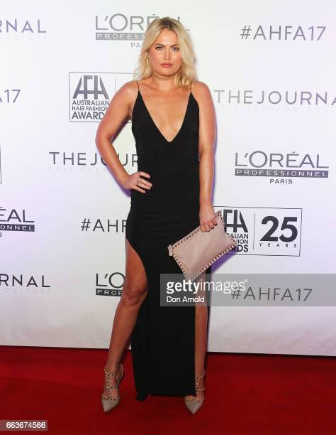 Keira Maguire arrives at the 2017 Australian Hair Fashion Awards at Luna Park on April 2 2017 in Sydney Australia