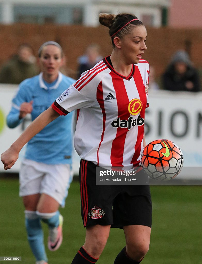 Keira Ramshaw of Sunderland during the WSL 1 match between Sunderland AFC Ladies and Manchester City Women at The Hetton Center on April 29, 2016 in Hetton, England.