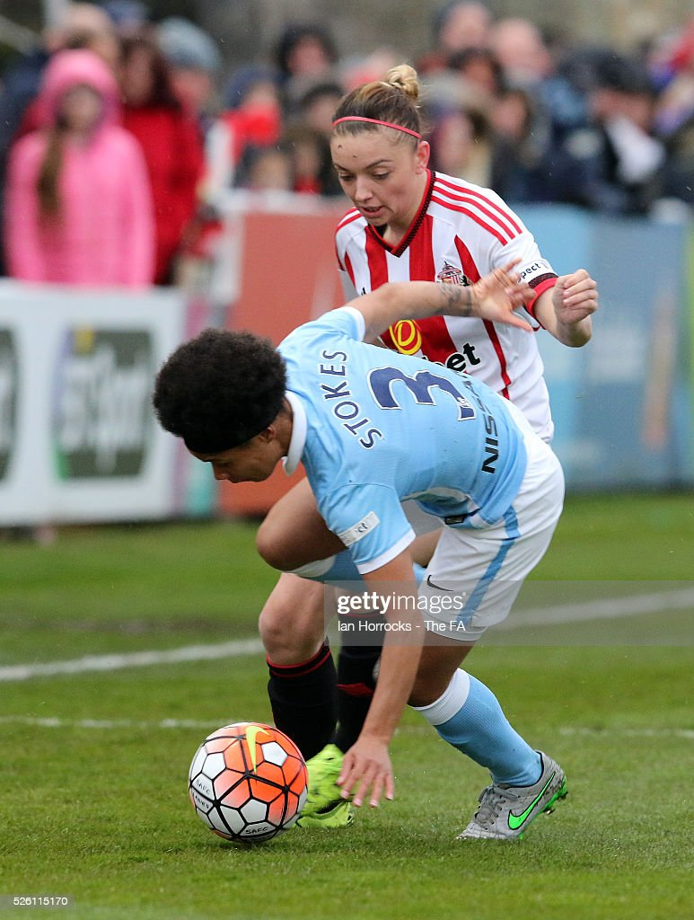 Keira Ramshaw of Sunderland tackles Demi Stokes of Manchester City during the WSL 1 match between Sunderland AFC Ladies and Manchester City Women at The Hetton Center on April 29, 2016 in Hetton, England.
