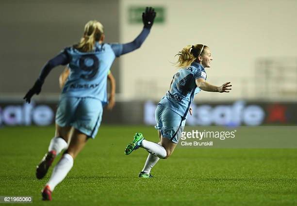 Keira Walsh of Manchester City Women celebrates with team mate Toni Duggan as she scores their first goal during the UEFA Women's Champions League...