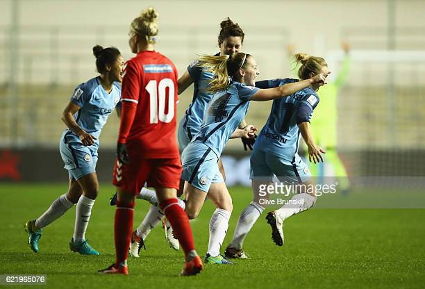 Keira Walsh of Manchester City Women celebrates with team mates as she scores their first goal during the UEFA Women's Champions League round of 16...