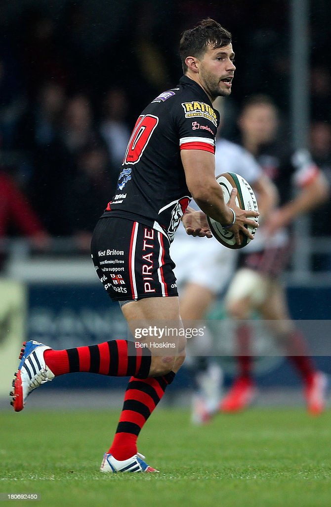 Keiran Hallett of the Cornish Pirates in action during the Greene King IPA Championship match between the Cornish Pirates and Bristol Rugby at Sandy...