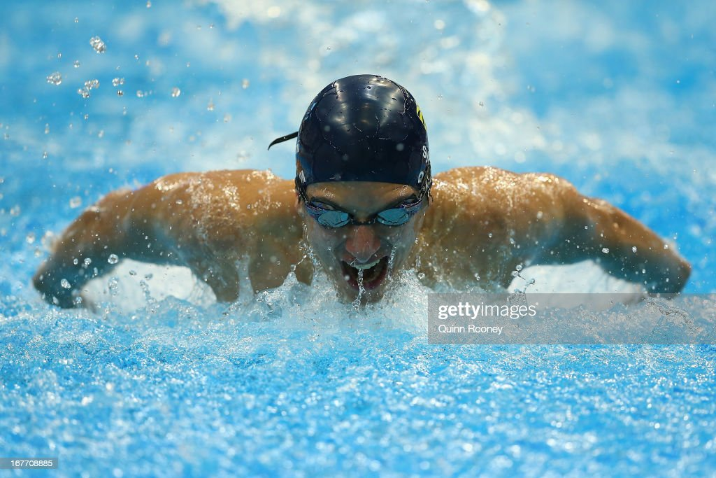 Keiran Qaium of Australia competes in the 200 Metre Butterfly during day three of the Australian Swimming Championships at SA Aquatic and Leisure Centre on April 28, 2013 in Adelaide, Australia.
