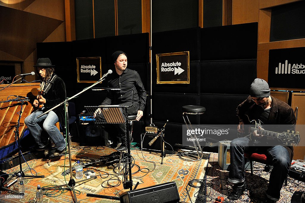Keiran Scragg (centre) of IKO performs at the Acoustic Sessions with Absolute Radio for emerging artists at Abbey Road Studios on November 27, 2012 in London, England.