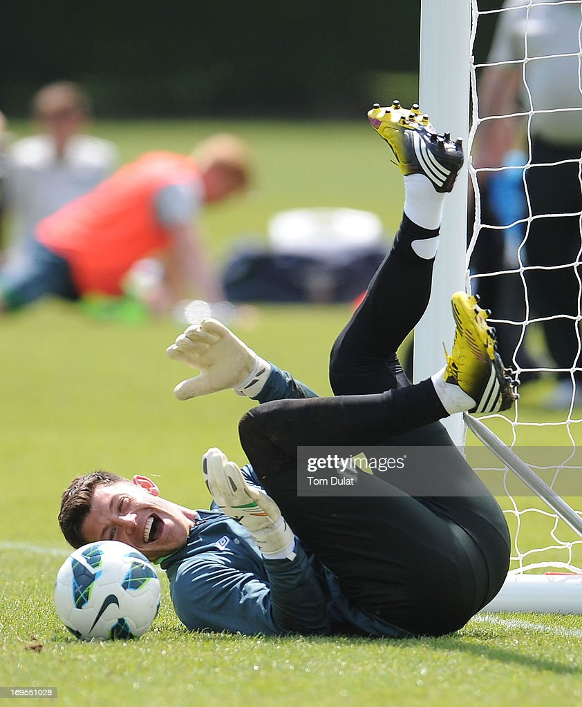 <a gi-track='captionPersonalityLinkClicked' href=/galleries/search?phrase=Keiren+Westwood&family=editorial&specificpeople=3949539 ng-click='$event.stopPropagation()'>Keiren Westwood</a> smiles during the Ireland training session at Watford FC Training Ground on May 27, 2013 in London Colney, England.