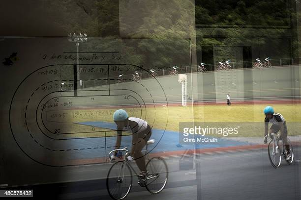 Keirin students are reflected in the days training schedule at the Nihon Keirin Gakkou on July 8 2015 in Izu Japan Keirin is a form of cycle racing...