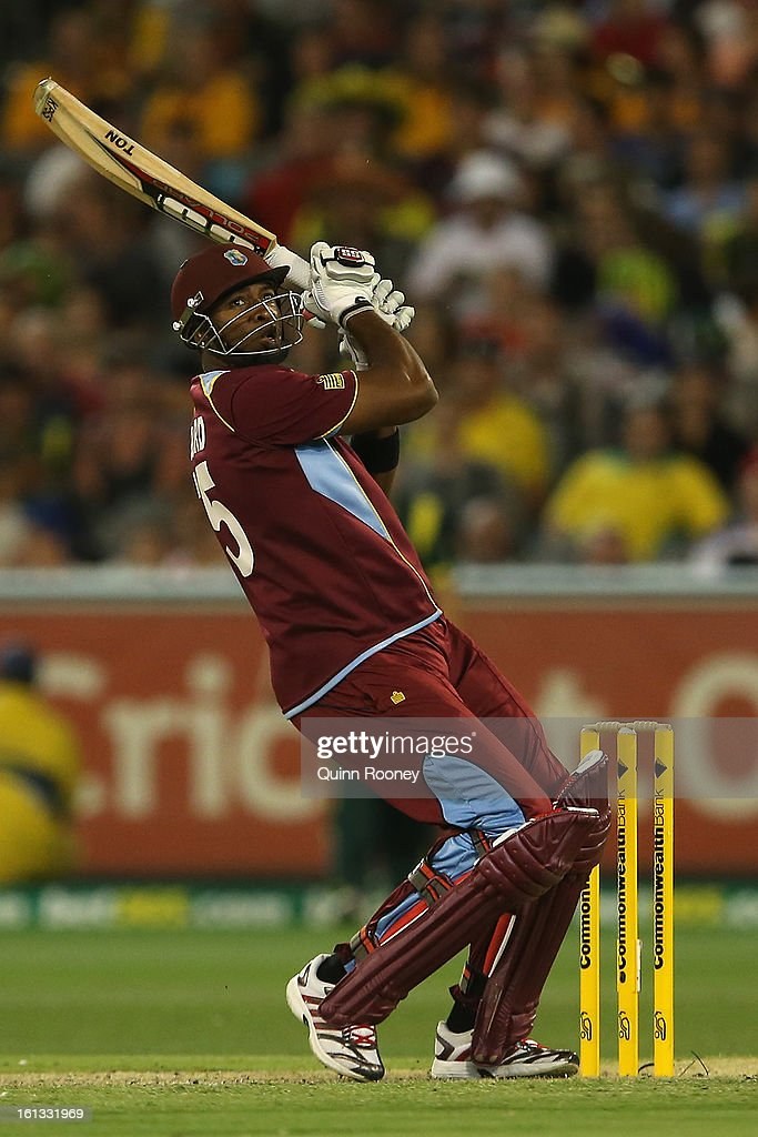 Keiron Pollard of the West Indies bats during game five of the Commonwealth Bank International Series between Australia and the West Indies at Melbourne Cricket Ground on February 10, 2013 in Melbourne, Australia.