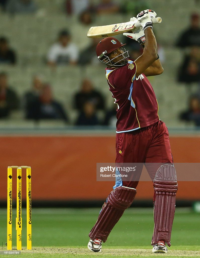Keiron Pollard of the West Indies hits out during game five of the Commonwealth Bank International Series between Australia and the West Indies at the Melbourne Cricket Ground on February 10, 2013 in Melbourne, Australia.