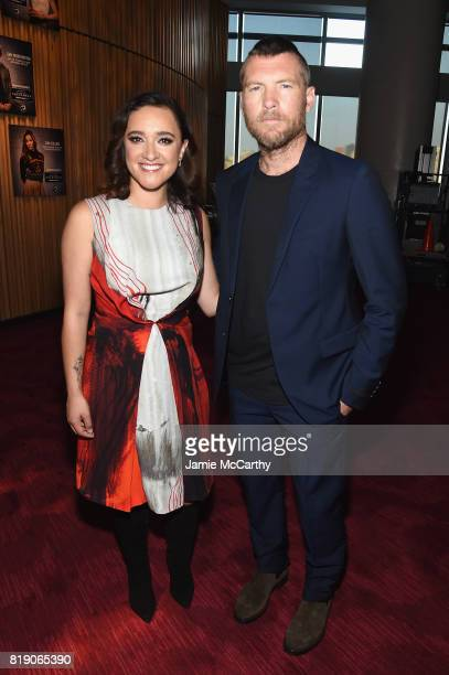 Keisha CastleHughes and Sam Worthington attend the Discovery's 'Manhunt Unabomber' World Premiere at the Appel Room at Jazz at Lincoln Center...