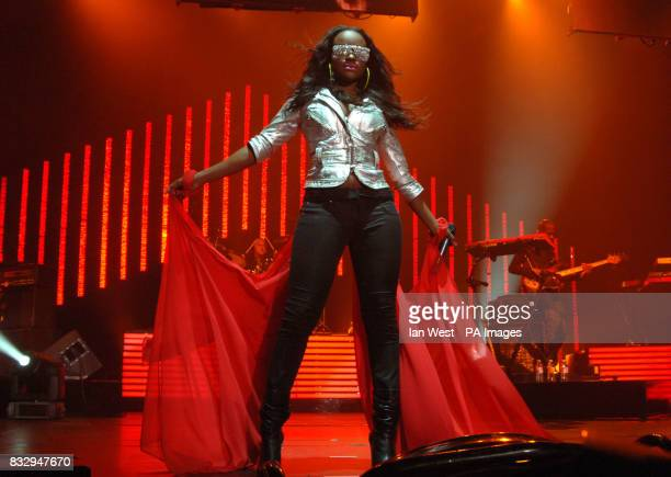 Keisha from The Sugababes in concert at Wembley Arena in north London
