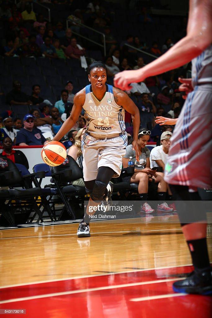 Keisha Hampton #24 of the Minnesota Lynx drives to the basket against the Washington Mystics during game on June 26, 2016 at Verizon Center in Washington, District of Columbia.