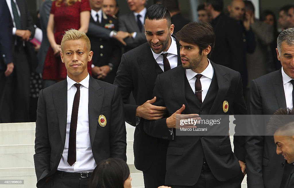 <a gi-track='captionPersonalityLinkClicked' href=/galleries/search?phrase=Keisuke+Honda&family=editorial&specificpeople=2333022 ng-click='$event.stopPropagation()'>Keisuke Honda</a>, <a gi-track='captionPersonalityLinkClicked' href=/galleries/search?phrase=Adil+Rami&family=editorial&specificpeople=4305019 ng-click='$event.stopPropagation()'>Adil Rami</a> and Riccardo Kaka attends the inauguration of AC Milan's new purpose-built headquarters, Casa Milan on May 19, 2014 in Milan, Italy.