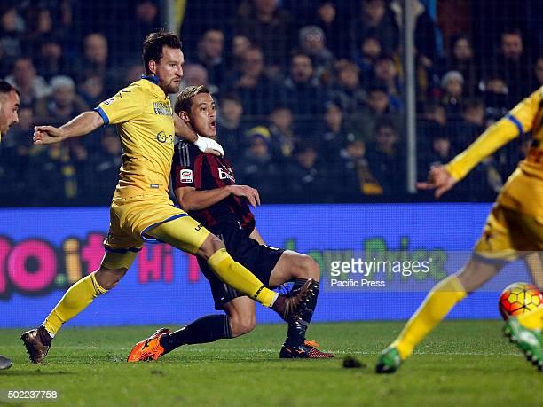 Keisuke Honda and Daniel Plavovic during the Italian Serie A soccer match between Frosinone and AC Milan at Matusa Stadium in Frosinone Milan won...