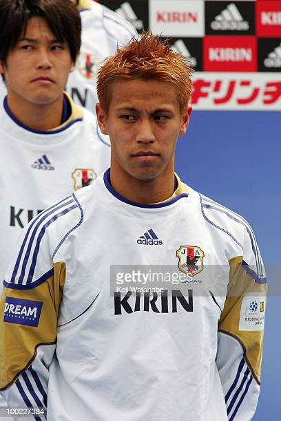 Keisuke Honda attends the Japan World Cup Team Sending Off Ceremony at Samurai Blue Park on May 22 2010 in Tokyo Japan