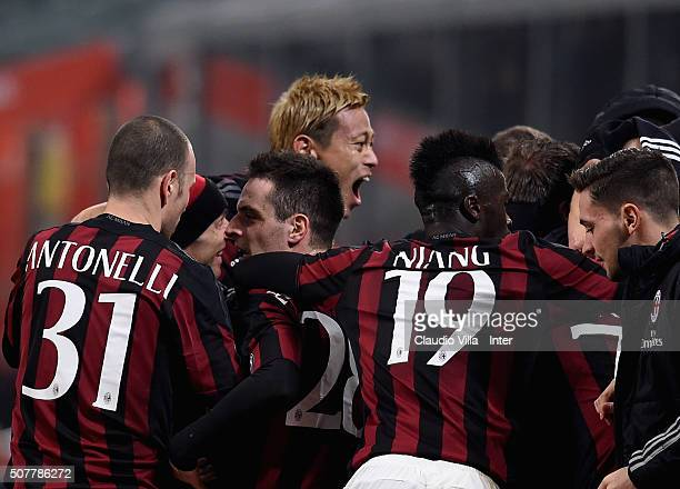Keisuke Honda of AC Milan celebrates during the Serie A match between AC Milan and FC Internazionale Milano at Stadio Giuseppe Meazza on January 31...