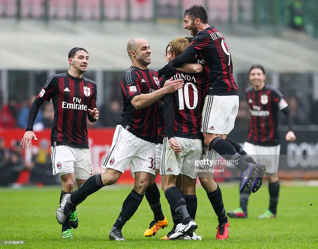 <a gi-track='captionPersonalityLinkClicked' href=/galleries/search?phrase=Keisuke+Honda&family=editorial&specificpeople=2333022 ng-click='$event.stopPropagation()'>Keisuke Honda</a> #10 of AC Milan celebrates his goal with his team-mates during the Serie A match between AC Milan and Genoa CFC at Stadio Giuseppe Meazza on February 14, 2016 in Milan, Italy.