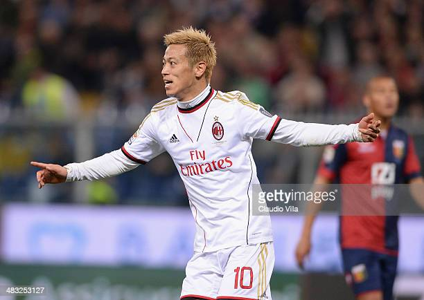 Keisuke Honda of AC Milan celebrates scoring the second goal during the Serie A match between Genoa CFC v AC Milan at Stadio Luigi Ferraris on April...