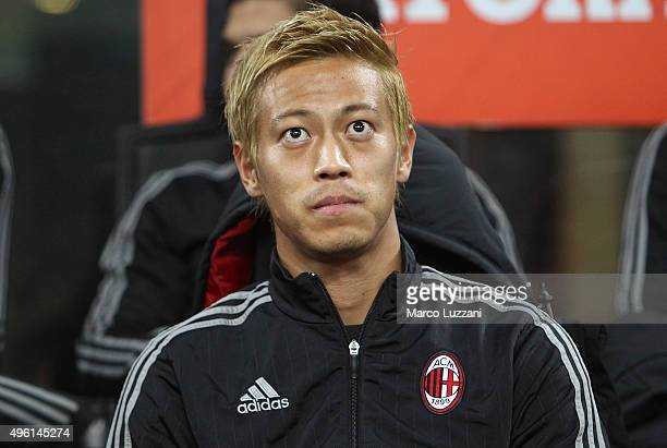 Keisuke Honda of AC Milan looks on before the Serie A match between AC Milan and Atalanta BC at Stadio Giuseppe Meazza on November 7 2015 in Milan...