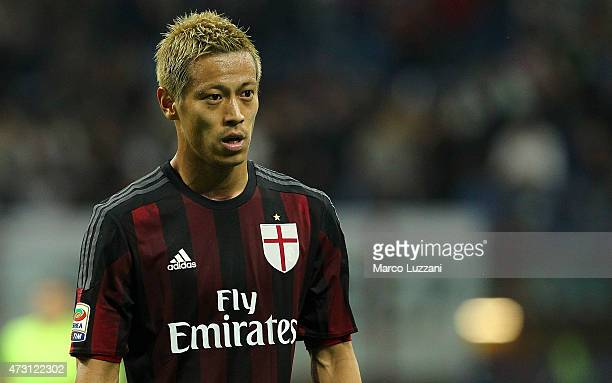 Keisuke Honda of AC Milan looks on during the Serie A match between AC Milan and AS Roma at Stadio Giuseppe Meazza on May 9 2015 in Milan Italy