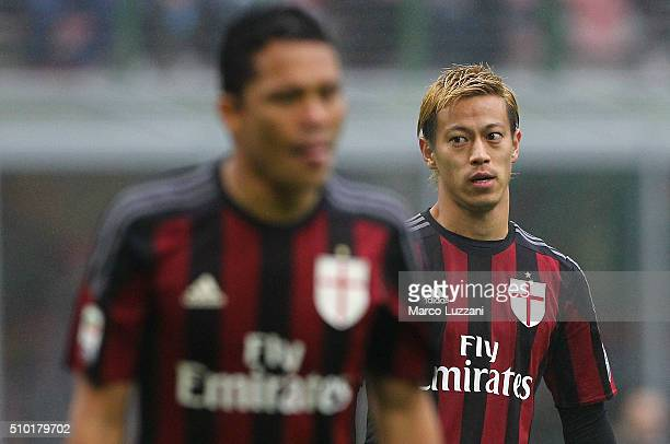 Keisuke Honda of AC Milan looks on during the Serie A match between AC Milan and Genoa CFC at Stadio Giuseppe Meazza on February 14 2016 in Milan...