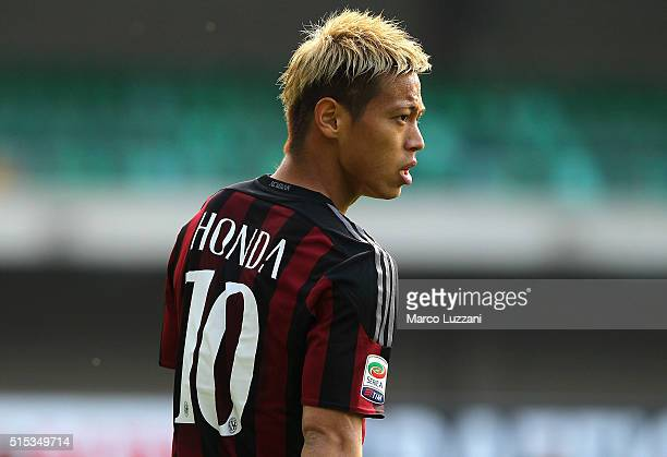 Keisuke Honda of AC Milan looks on during the Serie A match between AC Chievo Verona and AC Milan at Stadio Marc'Antonio Bentegodi on March 13 2016...