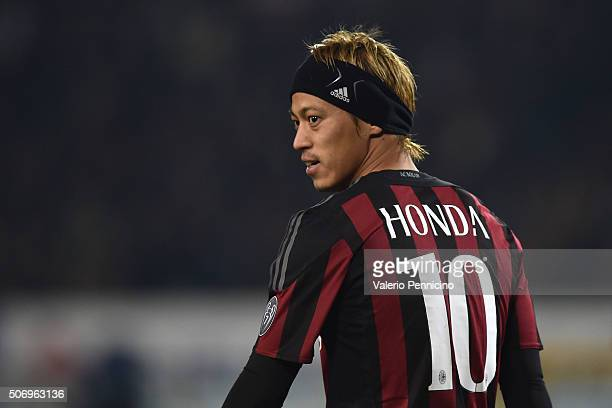 Keisuke Honda of AC Milan looks on during the TIM Cup match between US Alessandria and AC Milan at Olimpico Stadium on January 26 2016 in Turin Italy