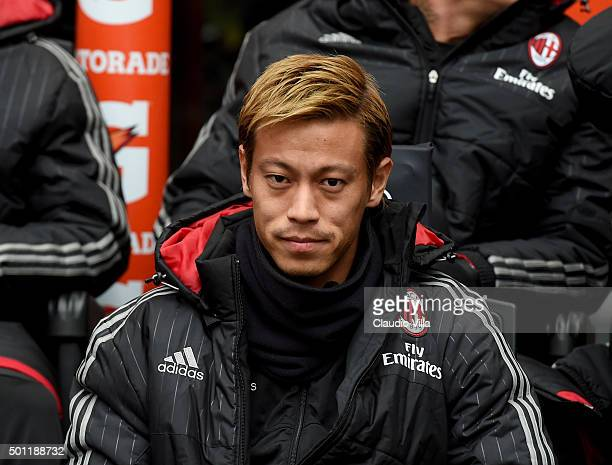 Keisuke Honda of AC Milan looks on prior to the Serie A match betweeen AC Milan and Hellas Verona FC at Stadio Giuseppe Meazza on December 13 2015 in...