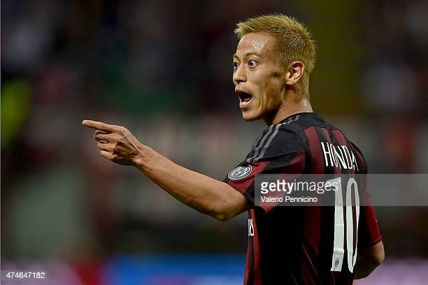 Keisuke Honda of AC Milan reacts during the Serie A match between AC Milan and Torino FC at Stadio Giuseppe Meazza on May 24 2015 in Milan Italy