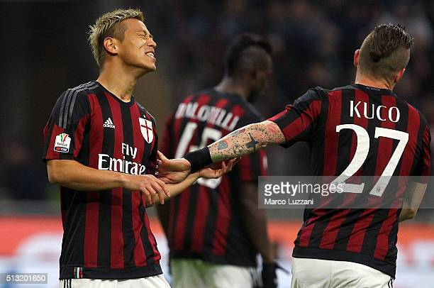 Keisuke Honda of AC Milan reacts to a missed chance during the TIM Cup match between AC Milan and US Alessandria at Stadio Giuseppe Meazza on March 1...