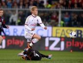 Keisuke Honda of AC Milan scores the second goal during the Serie A match between Genoa CFC v AC Milan at Stadio Luigi Ferraris on April 7 2014 in...