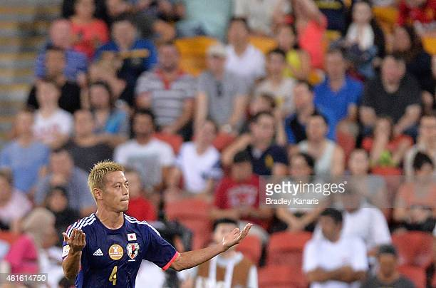 Keisuke Honda of Japan celebrates after scoring a goal during the 2015 Asian Cup match between Iraq and Japan at Suncorp Stadium on January 16 2015...