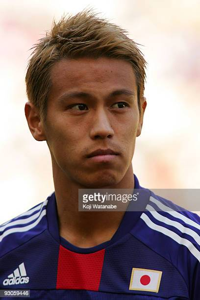 Keisuke Honda of Japan looks on the international friendly match between South Africa and Japan at the Nelson Mandela Bay Stadium on November 14 2009...