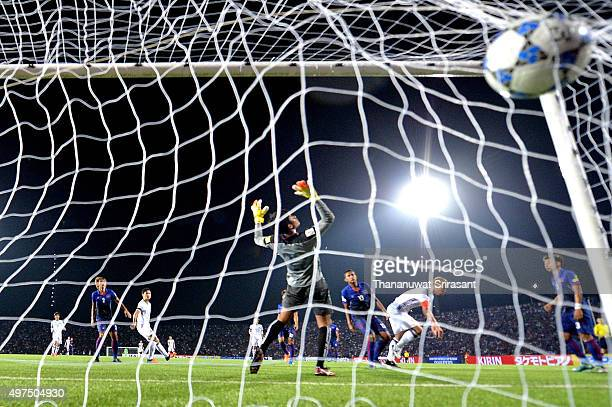 Keisuke Honda of Japan scores the goal during the 2018 FIFA World Cup Qualifier match between Cambodia and Japan on November 17 2015 in Phnom Penh...