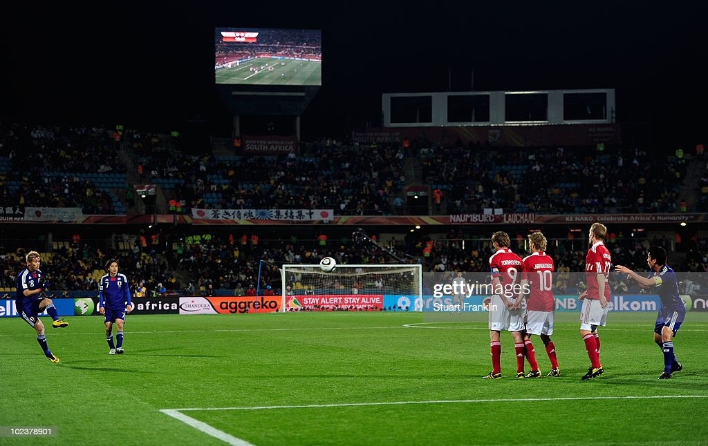 Keisuke Honda of Japan scores the opening goal from a free kick during the 2010 FIFA World Cup South Africa Group E match between Denmark and Japan...