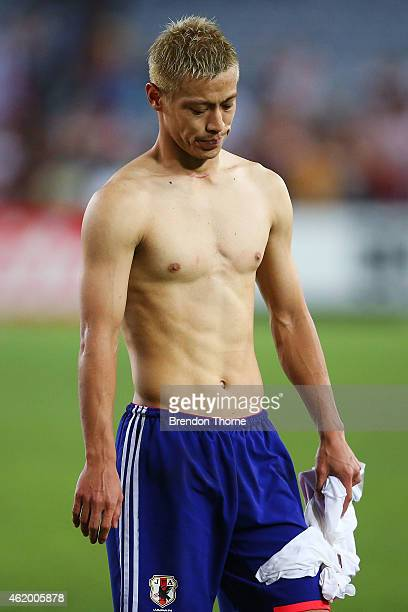 Keisuke Honda of Japan shows his dejection after Japan lose the penalty shoot out over United Arab Emirates following the the 2015 Asian Cup Quarter...
