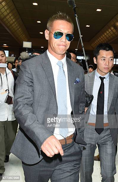 Keisuke Honda of Milan is seeing upon departure at Narita International Airport on June 17 2015 in Narita Japan