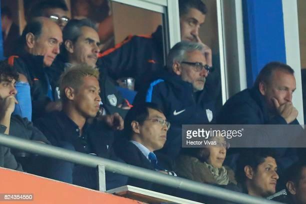 Keisuke Honda of Pachuca Akira Yamada Ambassador of Japan in Mexico and Jesus Martinez President of Pachuca are seen during the 2nd round match...