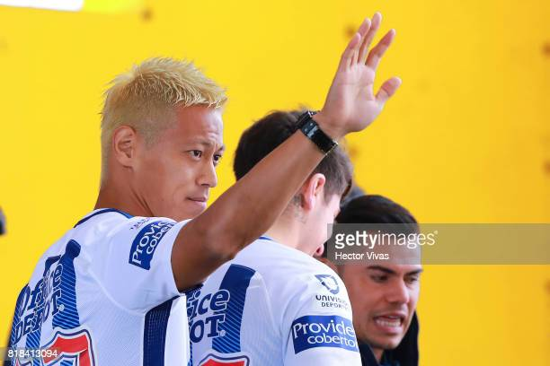Keisuke Honda of Pachuca audience the press during a press conference to unveil Pachuca's new signings at Universidad del Futbol y Ciencias del...