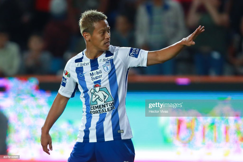 Keisuke Honda of Pachuca celebrates after scoring the fourth goal of his team during the sixth round match between Pachuca and Veracruz as part of the Torneo Apertura 2017 Liga MX at Hidalgo Stadium on August 22, 2017 in Pachuca, Mexico.