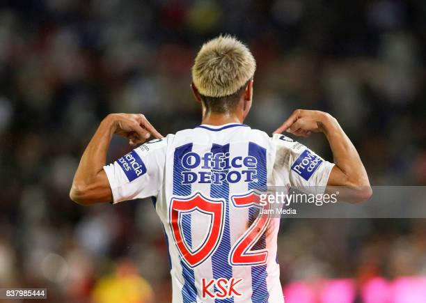 Keisuke Honda of Pachuca celebrates after scoring the fourth goal of his team during the sixth round match between Pachuca and Veracruz as part of...