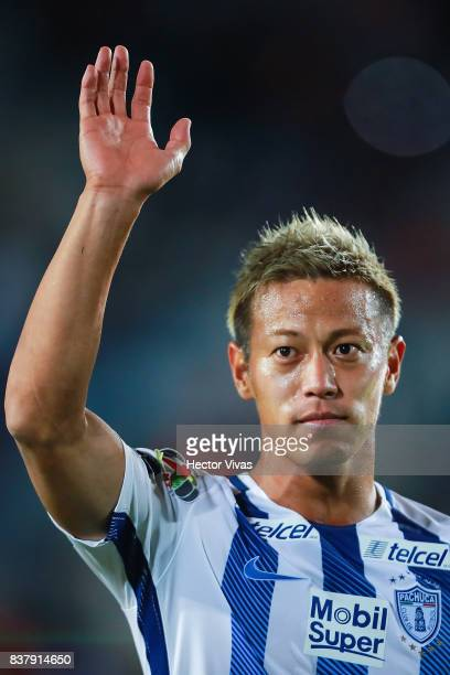 Keisuke Honda of Pachuca celebrates after winning the sixth round match between Pachuca and Veracruz as part of the Torneo Apertura 2017 Liga MX at...