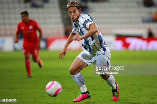Keisuke Honda of Pachuca drives the ball during the 10th round match between Pachuca and Toluca as part of the Torneo Apertura 2017 Liga MX at...